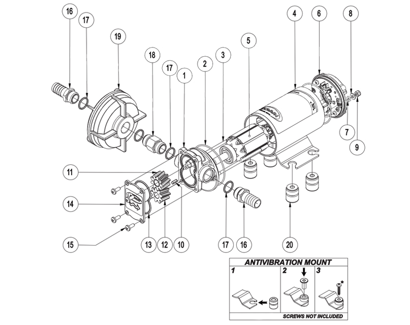 Self-Priming electric pump for various liquids | 12V | Marco UP3-P, Exploded View Diagram, Marco 164 002 12, UP3-P