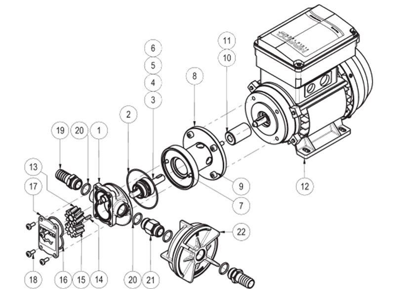 Self-priming electric gear pumps | 220V | Exploded view, Marco 164 001 1C, UP3/AC