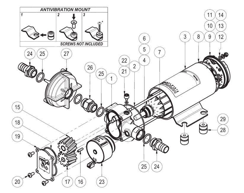 Self-priming electric pump for various liquids | 12-24V | Marco UP6/E, Exploded View Diagram, Marco 164 622 15, UP6/E