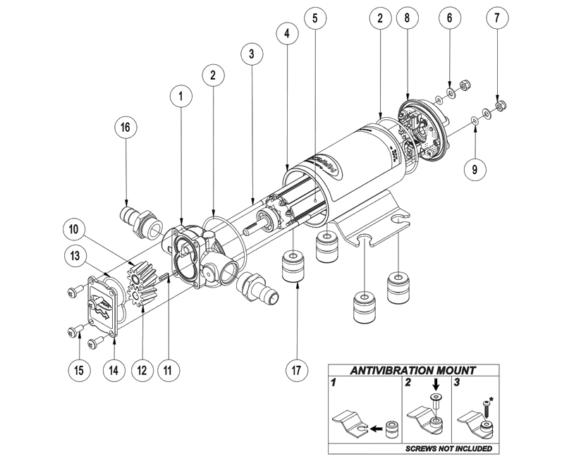 Self-Priming electric pump for various liquids | 12V | Marco UP2, Exploded View, Marco UP2, 164 200 12