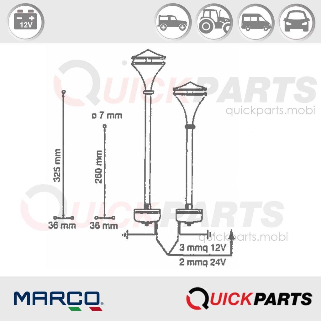 Avertisseur, klaxon en inox électromagéntique | 12v | 118Db | Marco 132 041 12 | EM1 | pour petits et moyens bateaux.