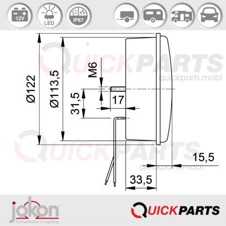 LED Richtingaanwijzer  12V  Jokon 13.6015.000, E2-06016, W 730/12V