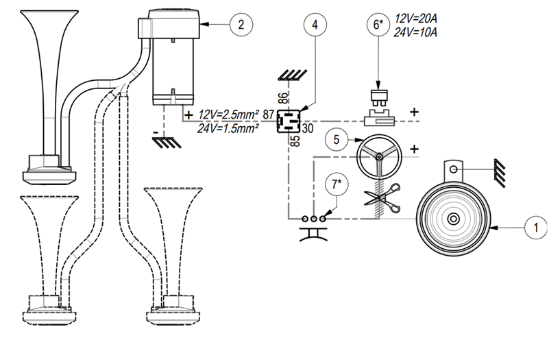"Twin metal chromed horns Air horn | 12V | Diagram ""hot"" lead to horn, Marco 112 020 12, CL2"