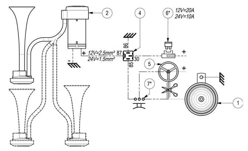 """Twin metal chromed air horns 