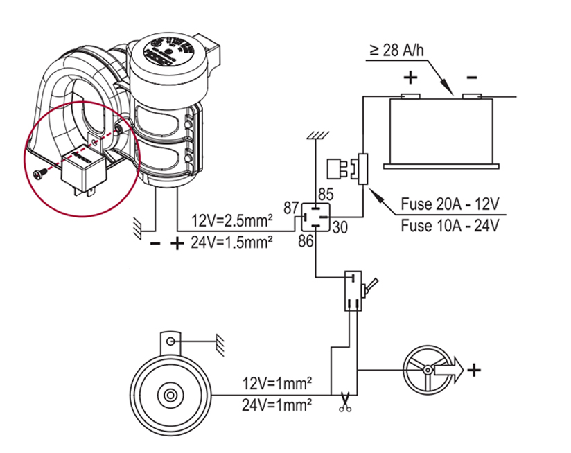 """Single sound electropneumatic horn 