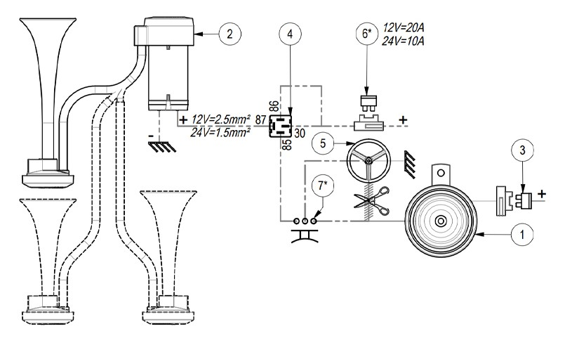 Twin metal chromed horns Air horn | 12V | Diagram ground lead to horn button, Marco 112 020 12, CL2