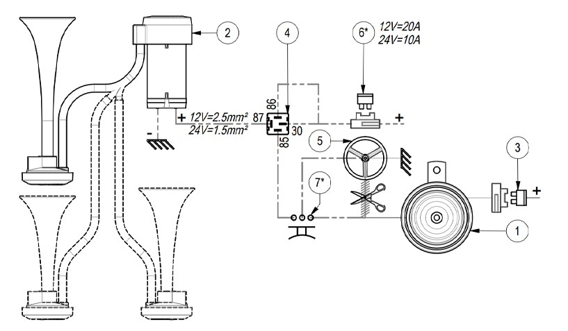Twin metal chromed air horns | 24V | Diagram ground lead to horn button, Marco 112 020 13, CL2