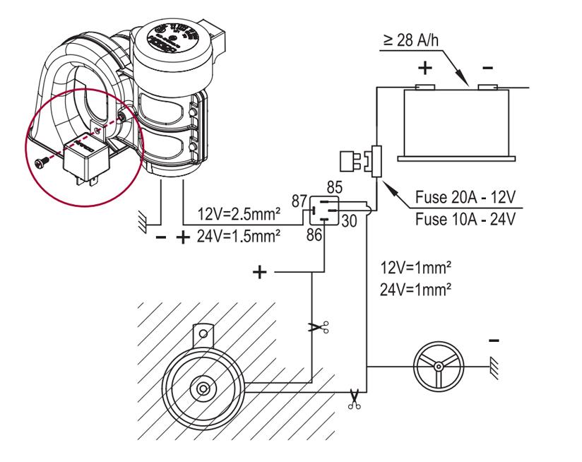 Elektromagnetische Hupe zweipolig | 12V | Schaltplan mit Erdungskabel zum Hupenknopf, Marco 112 310 12, HT1