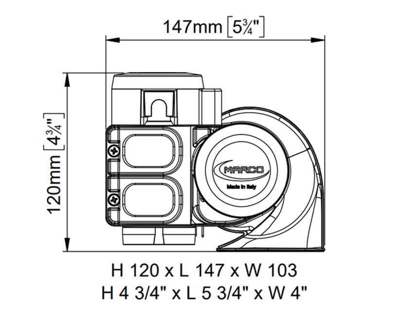 Elektromagnetische Hupe zweipolig | 12V | Dimensionen, Marco 112 310 12, HT1