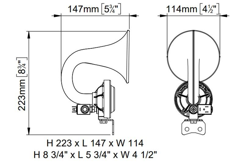 Black plastic horn, internal mounting | 24V | Dimensions, Marco 110 120 13, JE/120-24V