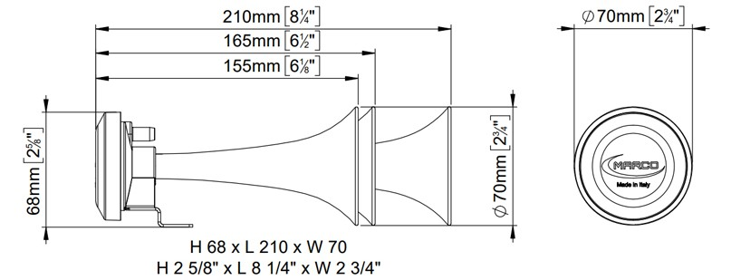 Electric Air Horns | 24V | Dimensions, Marco 112 080 13, F3/R
