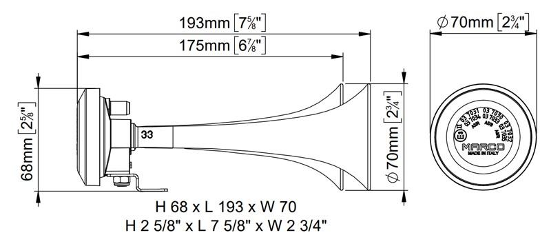 Twin metal chromed air horns | 24V | Dimensions, Marco 112 020 13, CL2