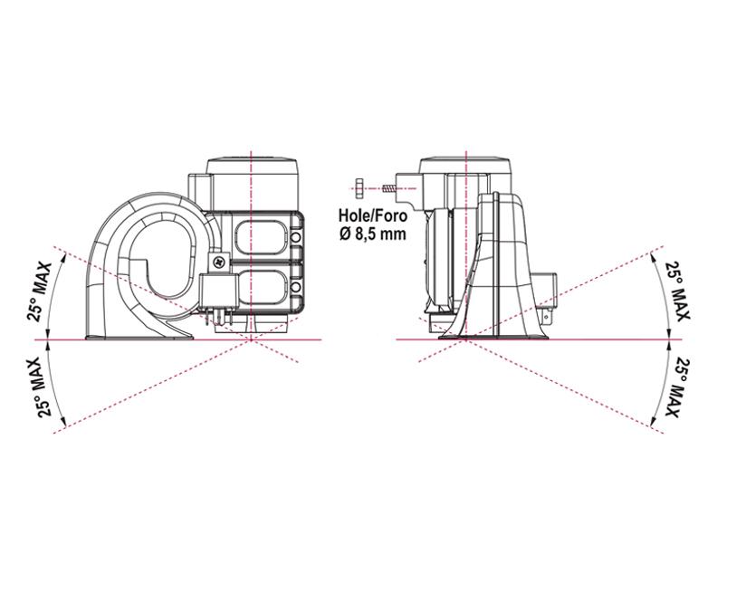 Elektromagnetische Hupe zweipolig | 12V | Montageplan,Marco 112 310 12, HT1