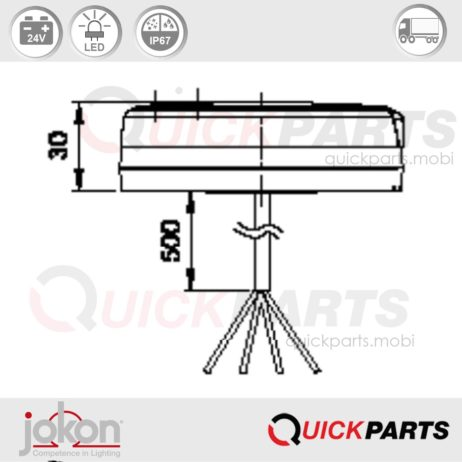 LED DI / Stop / Tail Light | 24V | Jokon E13-34660 E13-34664
